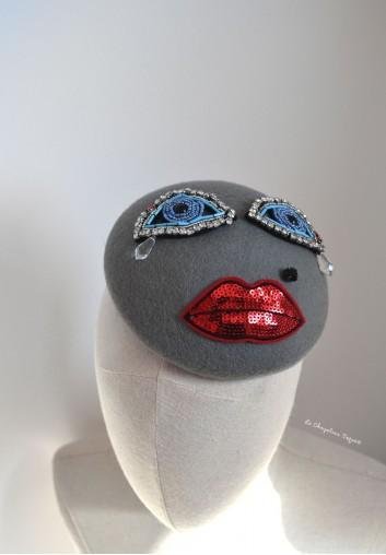 beret femme gris strass