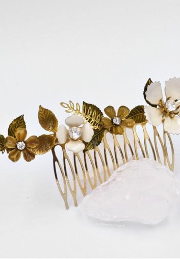 Peigne Cheveux Mariage avec Fleurs Emaillées et Cristaux