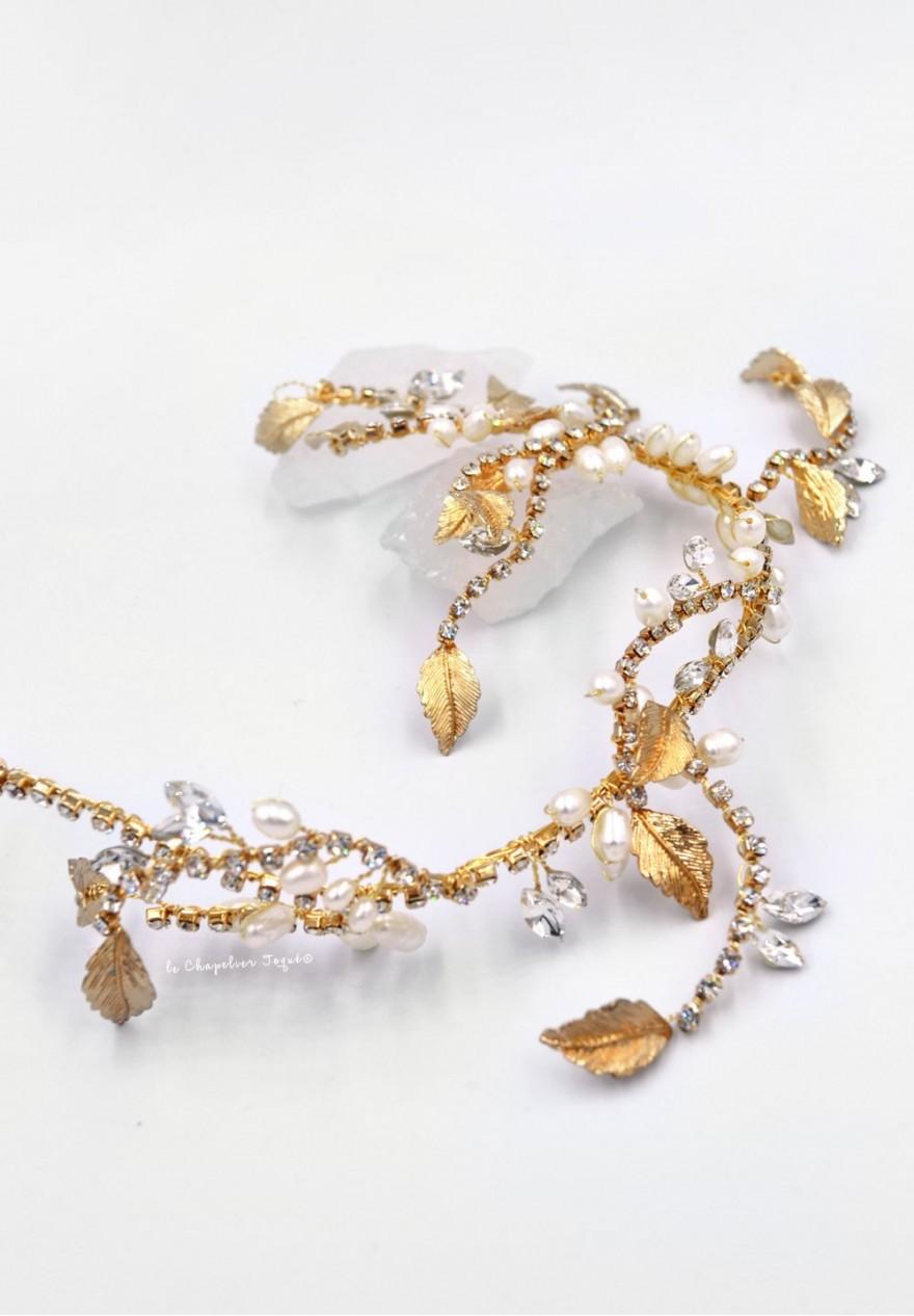 Couronne de Mariée or à feuilles et strass