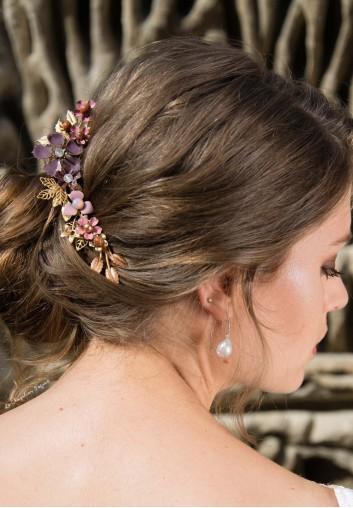 Peigne Cheveux Mariage - Fleurs Peintes et Cristaux