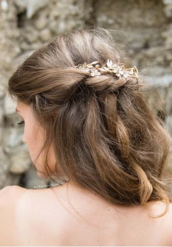 Couronne de Mariée Fleurs et Cristaux
