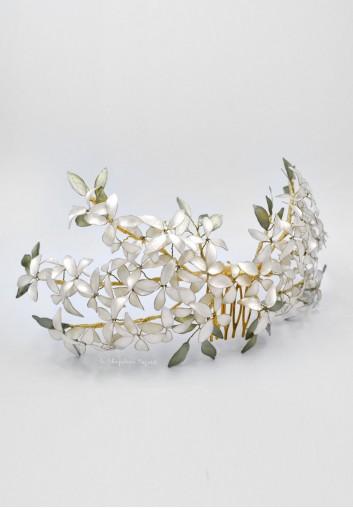Couronne de Mariage - Fleurs Emaillées
