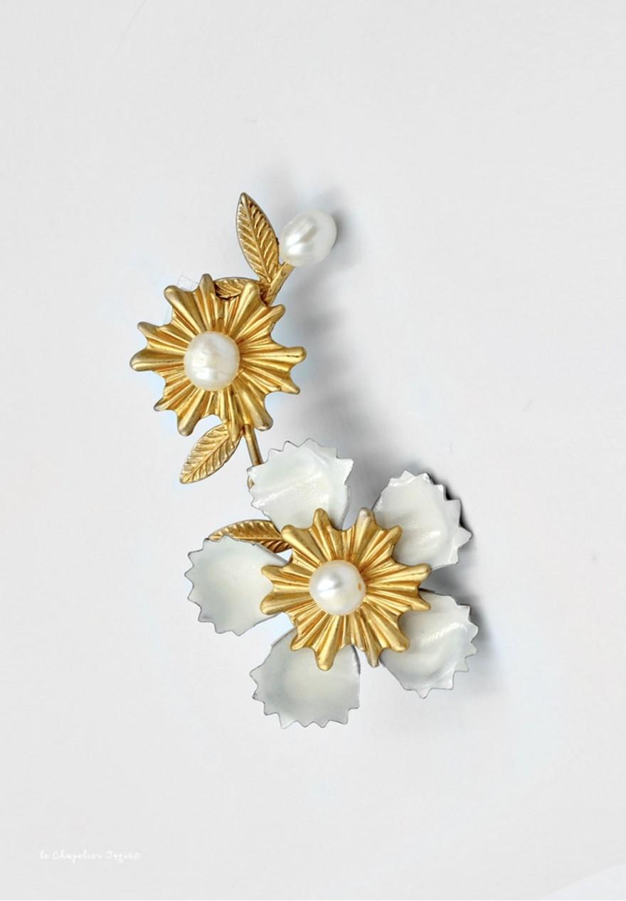 Manchette d'oreille à fleur et Perles d'eau en email