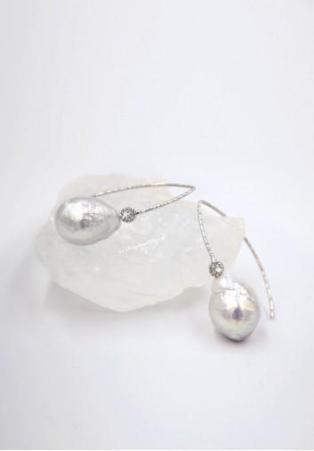 Boucle d Oreille de Mariée Pendante Argent et Perles d'eau douce