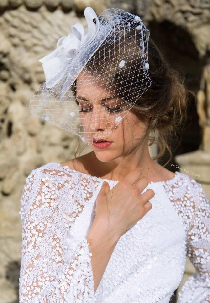 Bibi Mariage Blanc à Voilette et Gros Noeud