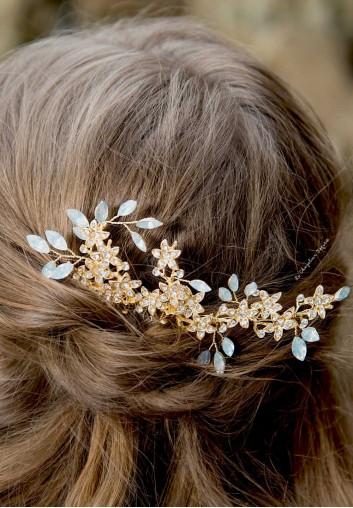 peigne cheveux mariage fleurs or