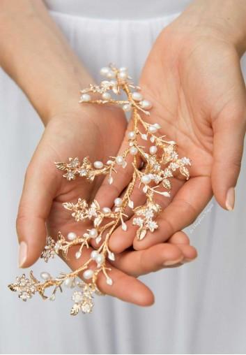 peigne cheveux mariage branches feuilles et perles d'eau douce