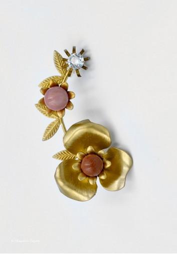 Earcuff - Manchette d'oreille Fleurs et Cristal