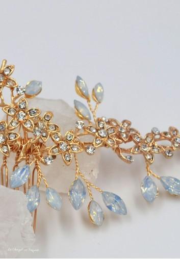 location peigne cheveux mariage fleurs or et cristaux strass