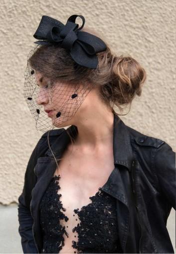 location chapeau bibi voilette de mariage noir