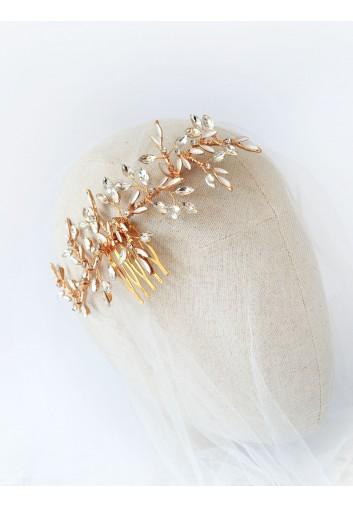 peigne cheveux mariage feuilles en strass