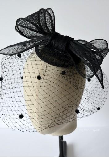 chapeau bibi voilette mariage noir
