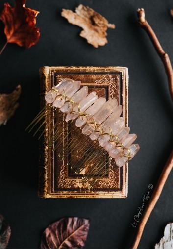 Peigne Cheveux Mariage en Cristal de Quartz Rose Naturel
